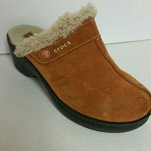 Crocs Size 7 Faux fur  Leather upper Mules